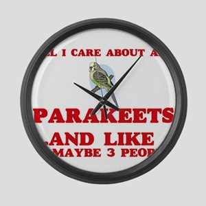 All I care about are Parakeets Large Wall Clock
