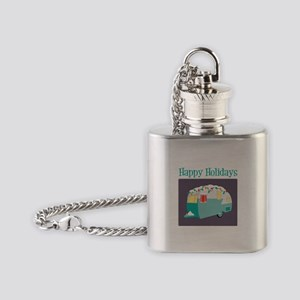 Happy Holidays Flask Necklace