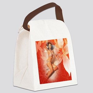 Sexy Tropical Pin Up Girl Canvas Lunch Bag