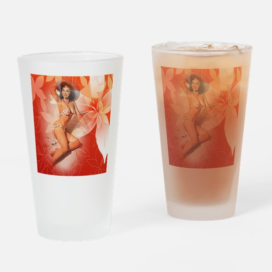 Sexy Tropical Pin Up Girl Drinking Glass
