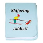 Skijoring Dog Addict baby blanket