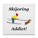Skijoring Dog Addict Tile Coaster