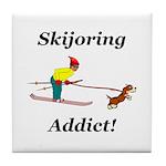 Skijoring Dog Addict Tile Coaster