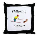 Skijoring Dog Addict Throw Pillow