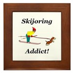 Skijoring Dog Addict Framed Tile