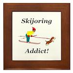 Skijoring Dog Addict Framed Tile