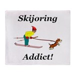 Skijoring Dog Addict Throw Blanket