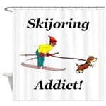 Skijoring Dog Addict Shower Curtain