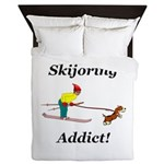 Skijoring Dog Addict Queen Duvet