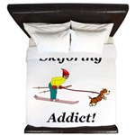 Skijoring Dog Addict King Duvet