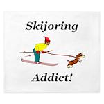 Skijoring Dog Addict King Duvet