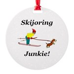 Skijoring Dog Junkie Round Ornament