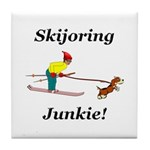 Skijoring Dog Junkie Tile Coaster