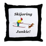 Skijoring Dog Junkie Throw Pillow