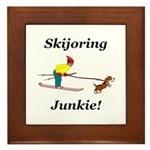 Skijoring Dog Junkie Framed Tile
