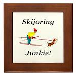 Skijoring Dog Junkie Framed Tile
