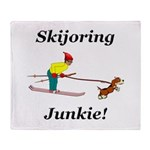 Skijoring Dog Junkie Throw Blanket