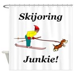 Skijoring Dog Junkie Shower Curtain