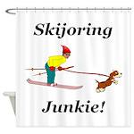 Skijoring Dog Junkie Shower Curtain