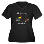 Skijoring Dog Junkie Women's Plus Size V-Neck Dark