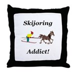 Skijoring Horse Addict Throw Pillow