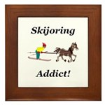 Skijoring Horse Addict Framed Tile