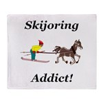 Skijoring Horse Addict Throw Blanket