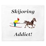 Skijoring Horse Addict King Duvet