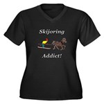 Skijoring Horse Addict Women's Plus Size V-Neck Da