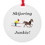 Skijoring Horse Junkie Round Ornament