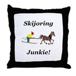 Skijoring Horse Junkie Throw Pillow