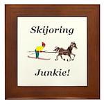 Skijoring Horse Junkie Framed Tile