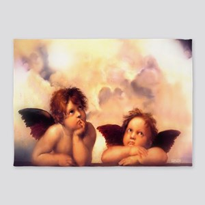 Putti Pair Angels 5'x7'Area Rug