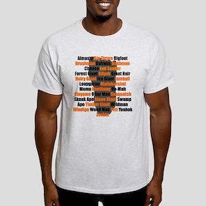 Bigfoot Names Footprint T-Shirt