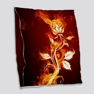 Flower on fire Burlap Throw Pillow
