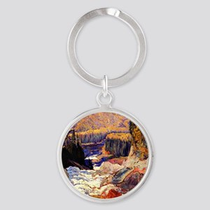 Montreal River, painting by J.E.H.  Round Keychain