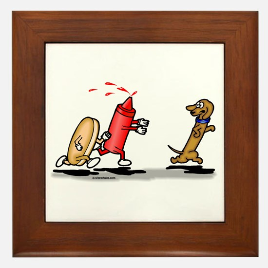 Run Wiener Dog! Framed Tile