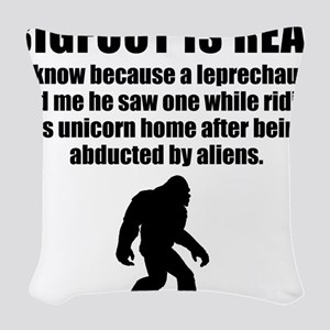 Bigfoot Is Real Woven Throw Pillow