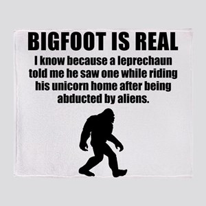 Bigfoot Is Real Throw Blanket