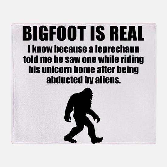 Bigfoot Is Real Throw Blanket
