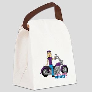 Biker Girl Light/Blonde Canvas Lunch Bag