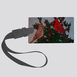 Cardinals in Holly Bush Large Luggage Tag