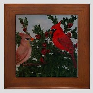 Cardinals in Holly Bush Framed Tile