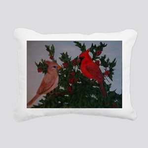 Cardinals in Holly Bush Rectangular Canvas Pillow