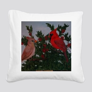 Cardinals in Holly Bush Square Canvas Pillow