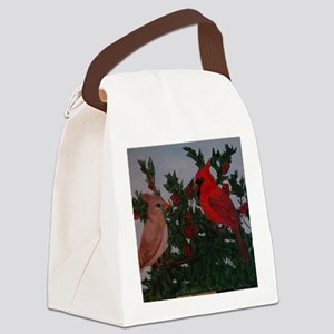 Cardinals in Holly Bush Canvas Lunch Bag