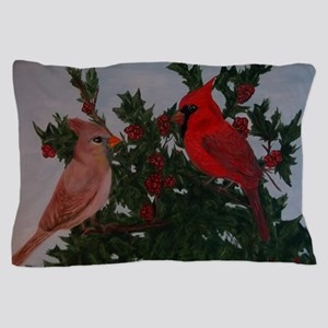Cardinals in Holly Bush Pillow Case