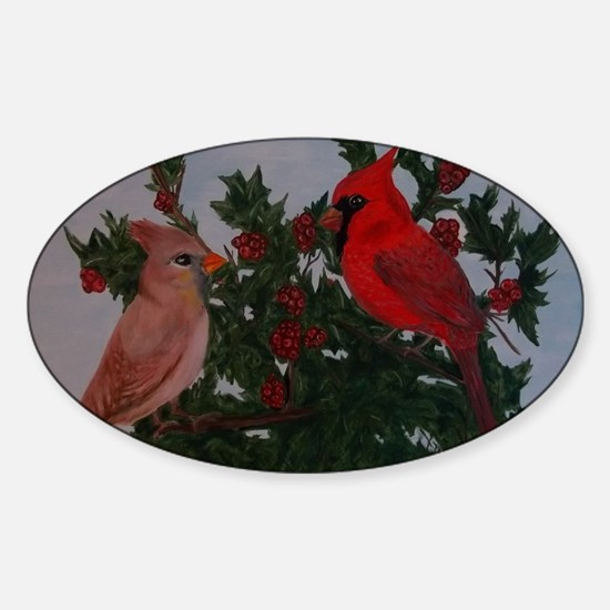 Cardinals in Holly Bush Sticker (Oval)