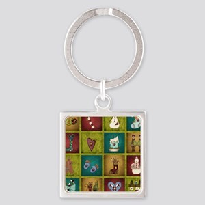 CHRISTMAS CRAZY QUILT Square Keychain