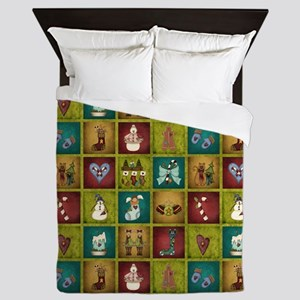 CHRISTMAS CRAZY QUILT Queen Duvet